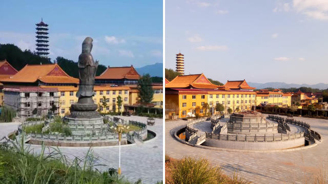 La statue en bronze de Guanyin du temple bouddhiste de Doushuai avant et après sa démolition.