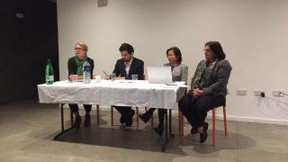 Les membres du panel de gauche à droite : Rachel Harris, le rabbin Benji Stanley, Rahima Mahmut et Mia Hasenson-Gross.