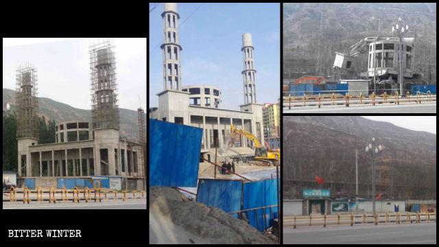La mosquée du comté de Minhe avant et après sa démolition.