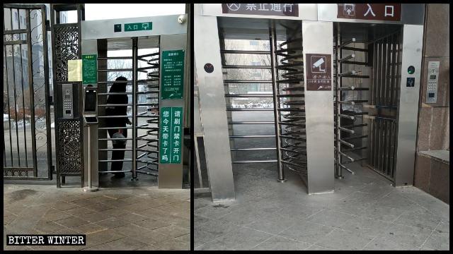 Portes tournantes installées à l'entrée des complexes résidentiels
