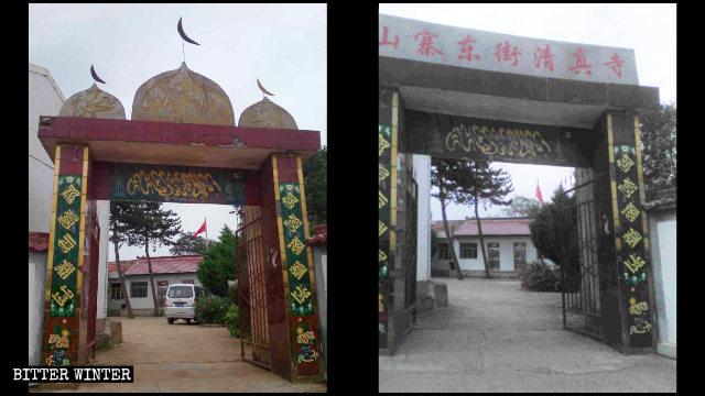 L'entrée d'une mosquée dans le comté de Huating avant et après le démantèlement de ses symboles islamiques.