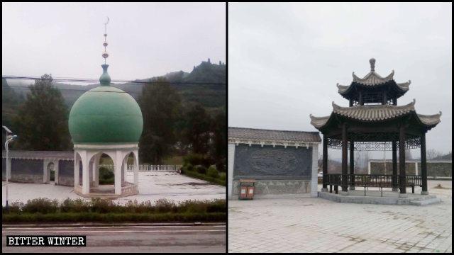 Un bâtiment en forme de dôme sur le square musulman de Dongguan a été transformé en pavillon de style chinois.