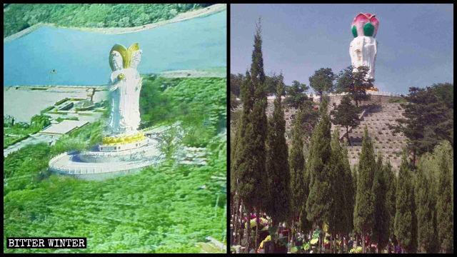 La tête de la statue de « Guanyin aux Quatre visages » a été altérée pour prendre la forme d'une fleur de lotus.