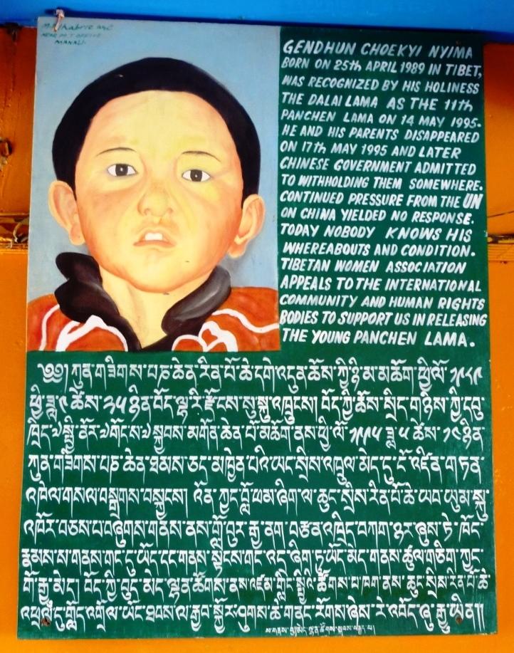 Un poster en soutien au panchen-lama authentique.
